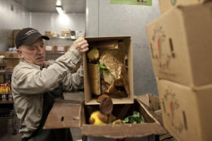 Photo of grocery store worker dumping old produce for recycling. Supermarkets take up composting, but waste disposal system lags: The composting movement is inching forward in fits and starts, but the nation�s trash disposal system lacks the ability to process food waste on a large scale. Photo: Jared Soares/Washington Post