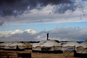A picture of tents housing Syrian refugees. Syria�s refugees: The United Nations estimates that within a week, there could be 1 million refugees in Jordan, Turkey, Egypt, Lebanon and Iraq as more people flee the Syrian civil war. Photo: Mohammad Hannon/AP