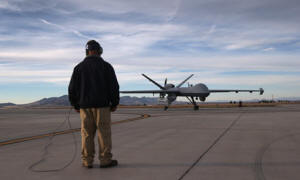 A predator drone at a US base in Arizona. Photo: John Moore/Getty Images
