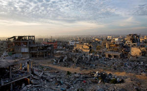 Sundown�s fading light shows the destruction in the Sha�af neighborhood of Gaza City after the summer war between Israel and Hamas. Photo: Heidi Levine/Washington Post