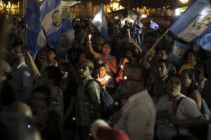 Protesters outside the presidential palace in Guatemala City last week calling for the resignation of President Otto P�rez Molina and an end to what many see as political impunity. Photo: Josue Decavele/Reuters