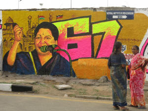 Former movie star Jayalalitha Jayaram, pictured in graffiti, was convicted on corruption charges and forced to step down. Photo Annie Gowen/Washington Post