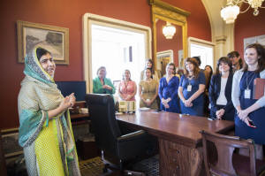 Malala speaks to staff members of the U.S. House and Senate in Washington on Tuesday. She is in the United States to advocate for girls' education with the Malala Fund, the non-profit organization she co-founded. Photo: Joshua Roberts/Malala Fund