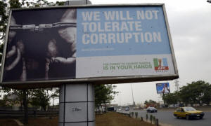 A party political billboard along a Lagos highway. Nigeria�s crude oil exports are often mispriced, according to a new report. Photograph: Pius Utomi Ekpei/AFP/Getty Images
