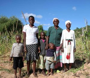 The Mashango family stand in front of their drought-affected crops in the Buhera district of Zimbabwe. Photo: Tamara van Vliet/OCHA