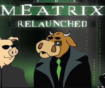 Opening shot of Meatrix, a movie about family farming.